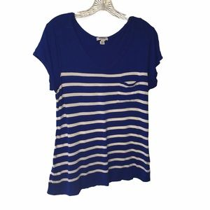 3/$21 Old Navy Blue/White Strip Short Sleeve Shirt